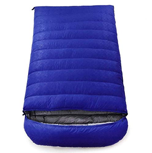 sleeping bag Portable Adult Four Seasons climbing envelope double ultralight down (capacity: 5.0 kg, color: blue)