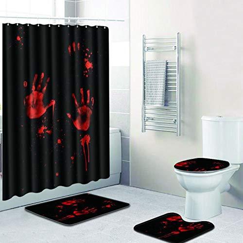 blackzzz Bad vierteilige Rutschfeste Teppich Set Basis Teppich + toilettenbezug + Bad Matte und wasserdicht duschvorhang 3D Blut Hand Serie 9 für Dekoration, etc.