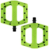 Dmr V11 Flat Mountain Bike Pedals - Green/Black, Steel Axle/Pair Lightweight Nylon Composite Plastic MTB Cycling Part Downhill Freeride Ride Trail Dirt Jump Cycle Wide Platform Tuneable Pin Grip