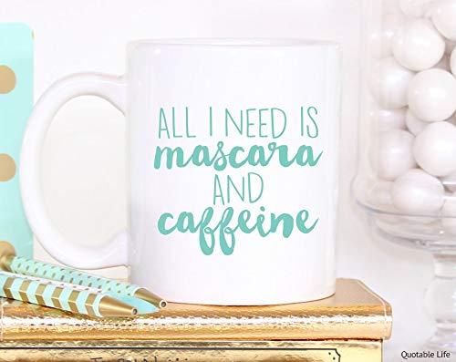 Sp567encer Alles wat ik nodig hebt, is mascara en cafeïne-grappige beker vriendin geschenken 11 ounce koffiemok
