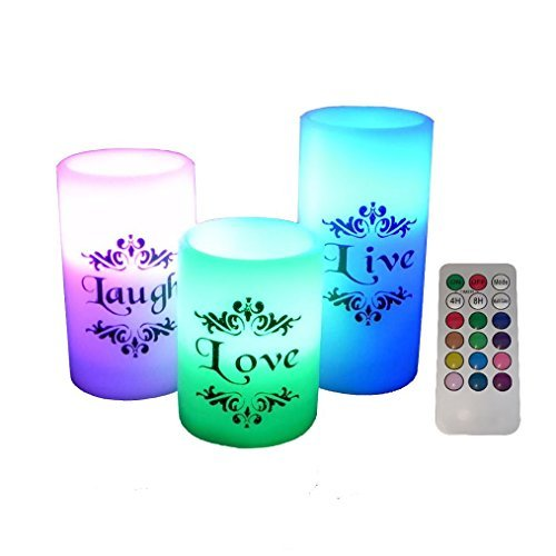 EGI - Set of 3 Flickering Flameless Candles with Multi Color Remote Control and Timer - Romantic Led...