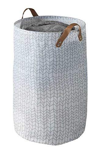 WENKO Panier à linge Geo, panier à linge spacieux en polyester haut de gamme, repliable à des dimensions peu encombrantes, avec 2 poignée, capacité de 75 litres, Ø 40 x 60 cm, blanc à dessins