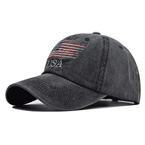 Washed American Flag Baseball Cap - Retro Adjustable Sun Dad Gift Hats for Men/Women Fashion Trucker Cap Black