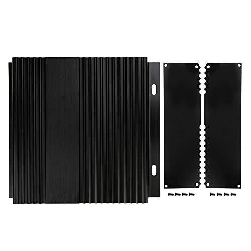 Aluminium-Projektbox - Aluminium-Projektbox Gebürstetes schwarzes Gehäuse Gehäuse DIY Junction Wärmeableitung 41x168x150mm