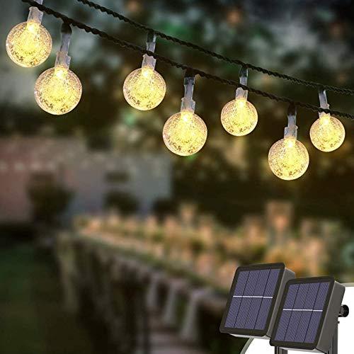 HJCC 2 Piezas Guirnaldas Luces Exterior Solar, 50Led IP65 Resistente Al Agua 8 Modos Cadena De Bola Cristal Luz para Navidad, Boda, Fiesta, Festival, Jardin,Warm White