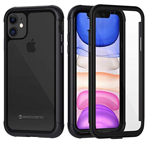seacosmo Cover iPhone 11, 360 Gradi Rugged Custodia iPhone XI Antiurto Trasparente Case con Protezione Integrata dello Schermo, Nero
