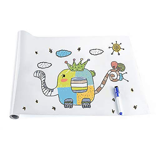 rabbitgoo Whiteboard Folie, Selbstklebende Weißwandtafel Folie Whiteboard Sticker DIY Whiteboardfolie Kreidetafel Wandaufkleber mit Whiteboard Stift - Weiß 44.5 x 199cm