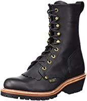 Ad Tec Mens 9 Inch Fireman Logger Black Work Boot, Full-Grain Oiled Leather, Goodyear Welt Construction and Fire...