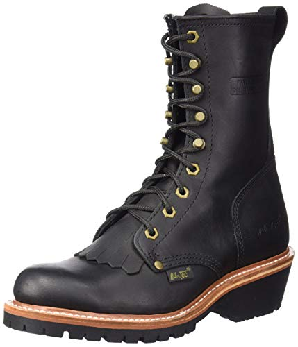 Ad Tec Mens 9 in Fireman Logger Full Grain Oiled Leather Certified Work Boot, Black - Fire Resistant Footwear, Non Slip Traction Control and Long Lasting Rubber Sole