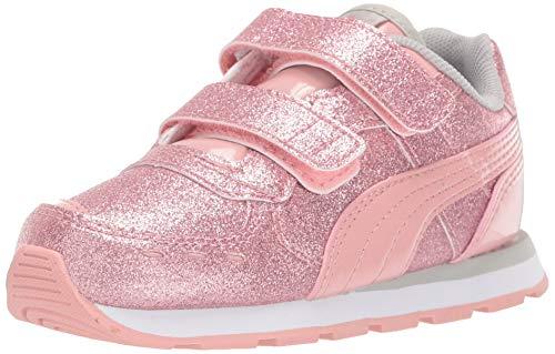 PUMA Girls' Vista Glitz Velcro Sneaker, Bridal Rose-Gray Violet White, 13.5 M US Little Kid