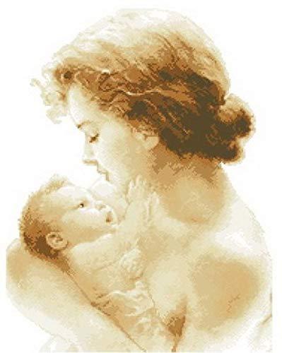 PJX Kits de punto de cruz estampados, kit de manualidades de bordado encantador contado kit de punto de cruz madre y bebé recién nacido bebé tierno dulce amor-11CT sin imprimir lienzo 40 cm50 cm