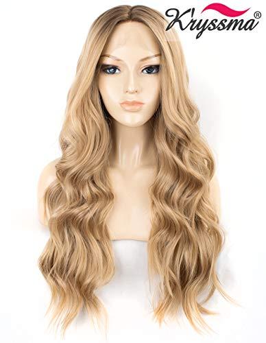 K'ryssma Ombre-Perücke, blond, gewellt, mit Spitze vorne, klebefrei, lang, blond, Kunsthaar, Mittelscheitel, wellig, für Frauen, hitzebeständig, 55,9 cm