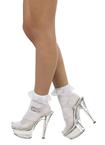 Boland 87851 - Socken Lacy, weiße Strümpfe für Erwachsene, dehnbar, mit Spitze, Accessoire, Kostüm, Karneval, Mottoparty