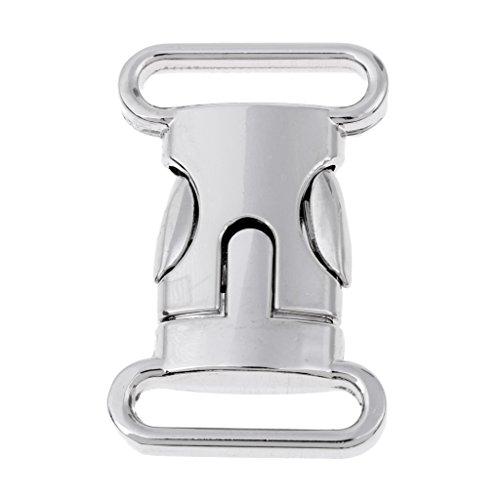 Generic Fibbia a Sgancio Laterale in Metallo per per Bagagli da 20 Mm/Bracciale in Paracord - Argento, L