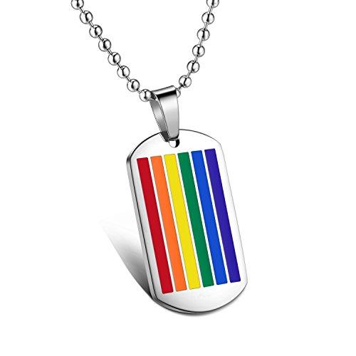 iLove EU Edelstahl Anhänger Halskette Mehrfarbig Regenbogen Homosexuell LGBT Gay & Lesbian Pride Dog Tag Herren, mit 55cm Kugel Kette