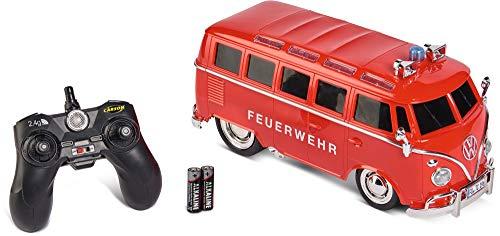 Carson 1:14 VW T1 Samba Bus Feuerwehr 100{6b73a8971cb86a876862494faa039c6c308de03eca451fb8432b9006e5466d4c} RTR, Ferngesteuertes Auto, Licht und Sound, inkl. Batterien und Fernsteuerung, Fahrzeit ca. 45 min, 500907325, Rot
