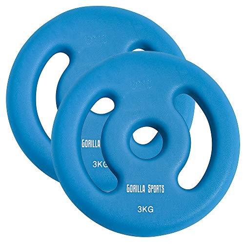 GORILLA SPORTS® Hantelscheiben-Set Neopren 30/31 mm Bohrung – 2er-Set Gewichte mit Griffen Gusseisen 6 kg - 2 x 3 kg