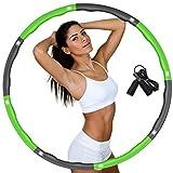 DUTISON Hula Hoop Reifen für Erwachsene, Fitness Hoola Hoop zur Gewichtsreduktion Größe Einstellbar Breit 48–95 cm beschwerter Hullahub Reifen mit Springseil