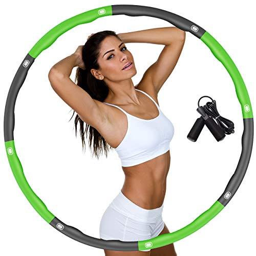 DUTISON Hula Reifen Hoop zur Gewichtsreduktion,Hoop mit Schaumstoff Gewichten Einstellbar Breit 48–88 cm beschwerter Hula-Reifen-Hoop für Fitness mit Springseil