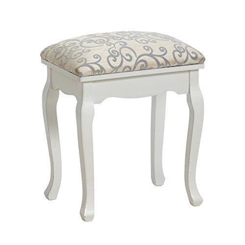 DESIGN DELIGHTS Élégante tabourets rembourré de style baroque | tabouret table de maquillage piano, blanc