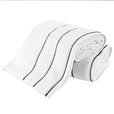 Luxury Cotton Towel Set- 2 Piece Bath Sheet Set Made From 100% Zero Twist Cotton- Quick Dry, Soft and Absorbent By Bedford Home (White / Black)