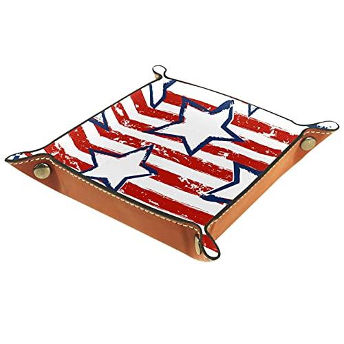 MUMIMI Anillo Plato de joyería titular de la bandeja de la baratija mejor regalo para las mujeres American Stars Stripe Pattern