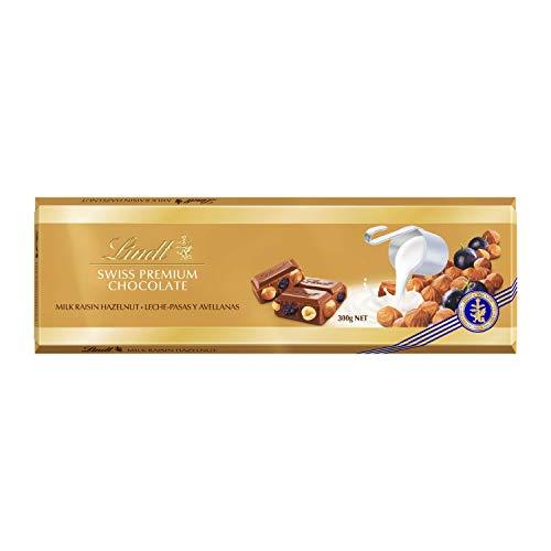 Tableta Lindt Gama Oro Chocolate con Leche, Avellanas y Pasas, 2 Paquetes de 300 g