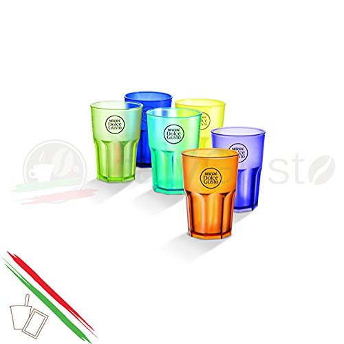 6Gläser Bunte Kunststoff Nescafe 'Dolce Gusto