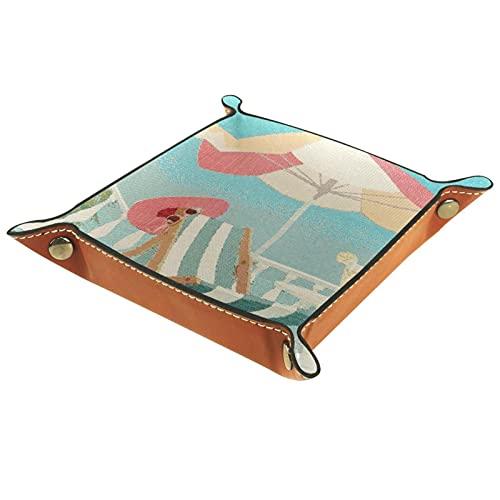 LXYDD Bandeja de Valet de Cuero Multiusos Caja de Almacenamiento Organizador de bandejas Se Utiliza para almacenar pequeños Accesorios,Silla de Playa