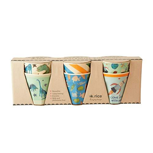 Rice Becherset Kinder 6 teilig, verschiedene Motive im Set, Größe 7 cm, Muster Dino Print Artikelvariante Becherset