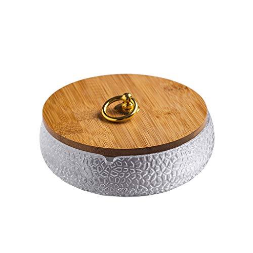 Cenicero de Vidrio Inicio Tabla de café Oficina Decoración de Escritorio Cubierta de bambú Ashtray 5,70 Pulgadas Regalo para Fumadores (Color : A)