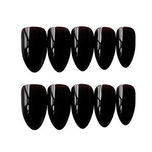 Valse nagels, mode schoonheid zwart natuurlijke nep nagels volledige dekking Valse nagel tips met lijm Manicure Tool