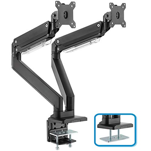 Dual Monitor Mount Stand - Heavy Duty Gas Spring Full Motion Adjustable Monitor 2 Arm Desk Mount Fits 17-35 inches Monitor Hold up to 33lbs - Premium Aluminum
