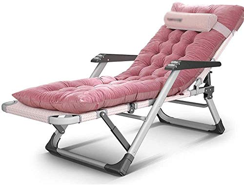 ZXT Recliner Lunch Break Chair Lazy Sofa 15 File Adjustment Flat Tube Massage handrail Multi-Purpose Chair with Cushion, 2 Colors Zero Gravity Chair (Color : Pink)