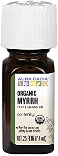 Aura Cacia 100% Pure Myrrh Essential Oil | Certified Organic, GC/MS Tested for Purity | 7.4 ml (0.25 fl. oz.) | Commiphora...