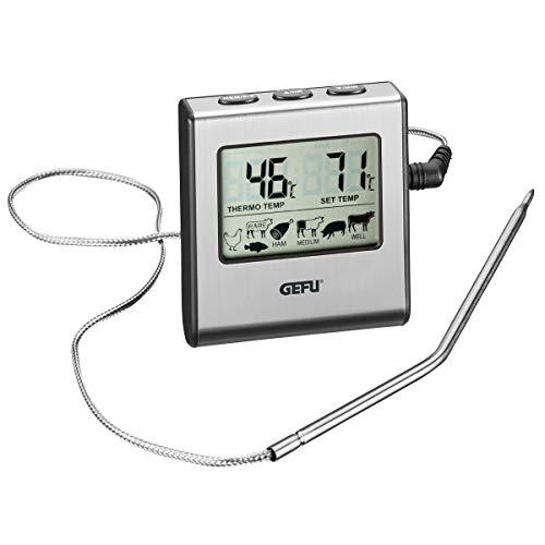 GEFU Tempère Thermomètre Numérique à Four avec Minuteur Acier Inoxydable Inox - Gris