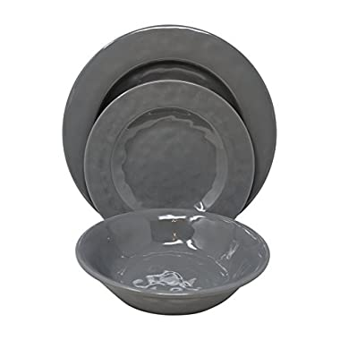 Gianna's Home 12 Piece Rustic Farmhouse Melamine Dinnerware Set, Service for 4 (Solid Gray)