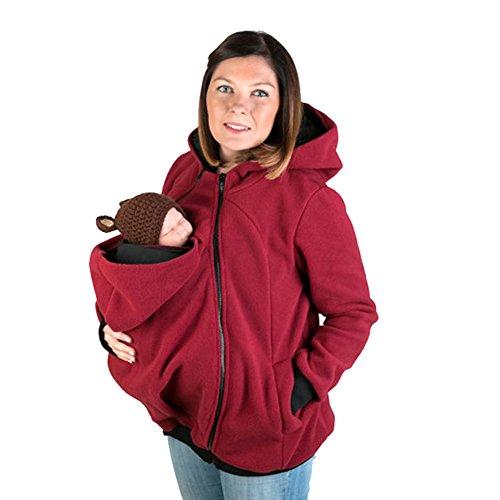 MissChild Damen Babytrage Umstandsjacke 3 in 1 Baby Carrier Hoodies Neugeborene Känguru Jacken Hoodie Freizeitjacke Sweatshirt Mommy Kangaroo Mantel Rot Label M (Büste 90-93cm)