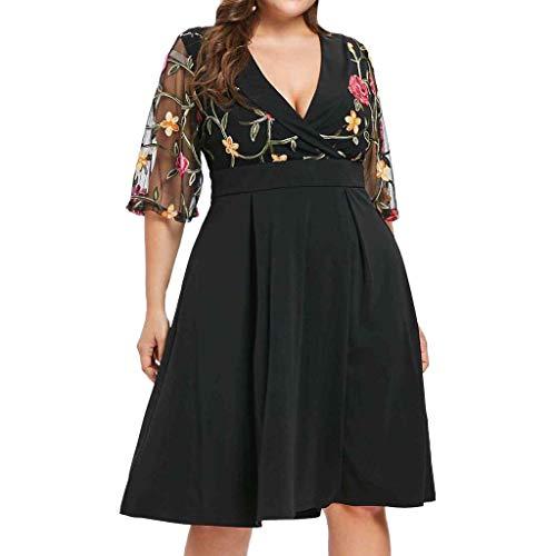 VJGOAL Damen Kleid, Frauen Plus Size Mode V-Ausschnitt Floral Maxi Abend Cocktail Party Hochzeit Boho Strand Frühling Sommerkleid (5XL / 52, V-schwarz)