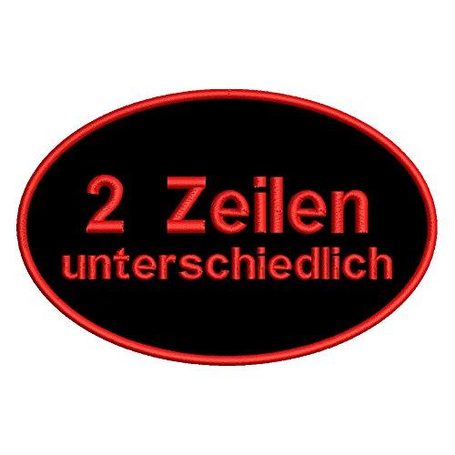 smartoutdoor Zweizeiliger ovaler Wunschtextaufnäher - 2. Zeile Kleiner - viele Farben und Größen (12x8cm)
