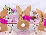 Papierdrachen 12 Osterhasen zum selber Basteln und Befüllen - Kreatives Geschenk zu Ostern mit 12 Papiertüten, Kordel und Pompons - für Mädchen - 2