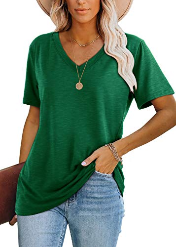 Summer Shirts for Women Loose Fit V Neck Fashion Tops Green L