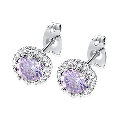 Beydodo Pendientes de Mujer Pendientes Piedra de Nacimiento Pendientes Birthstone Cristal Pendientes Redondo Junio Pendientes Púrpura Claro