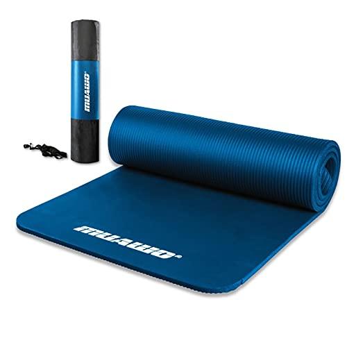 Premium Sportmatte und Fitnessmatte, perfekt als Yogamatte, Gymnastikmatte, Trainingsmatte - rutschfest, Extra-dick, Extra-lang - yoga matte - 190 Länge x100 Breite x1,5 cm dicke - Dunkelblau