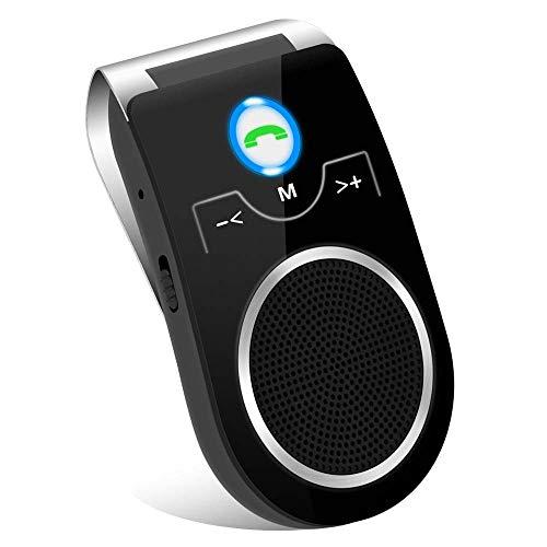 (Updated) Kit Mains Libres Bluetooth Voiture Bluetooth Adaptateur Haut-Parleur sans Fil avec Clip pour GPS, Musique, Supporte Siri et Google Assistant, compatibles Tous téléphones-Version FR