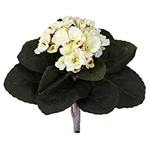 "for African Violet Artificial Plant Home Decor Cream Pink 9"" Set of 6 Floral Décor Home & Garden"