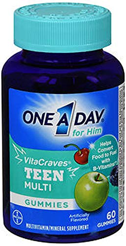 One A Day VitaCraves Teen for Him Multivitamin Gummies, Supplement with Vitamin A, Vitamin C, Vitamin D, Vitamin E and Zinc for Immune Health Support* & more, 60 Count