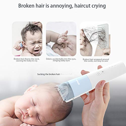 ENSSU Quieter Baby Hair Clippers for Kids, Upgraded 48dB Auto Sucking Snipped Hair Trimmers for Children with Autism, Waterproof Children Hair Cutting Kits, One Hour-Fast Charing