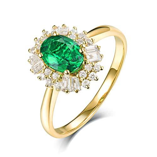Daesar Anillos de Oro Amarillo 18K Para Mujer,Flor Oval Esmeralda Verde 0.8ct Diamante 0.36ct,Oro Verde Talla 20