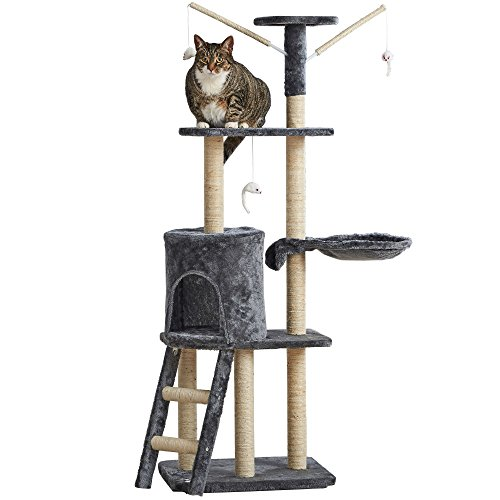 Milo & Misty 3 Platform Cat Tree Scratching Post Activity Centre - Kitten Furniture Playhouse with Sisal Covered Scratching Posts & Dangling Mice Toys (Grey)
